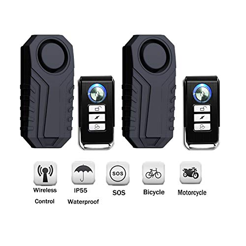SuperInk 2 Set Wireless Motorcycle Bicycle Bike Anti-Theft Burglar Vibration Security Alarm Waterproof Super Loud 113dB Remote Control Bell