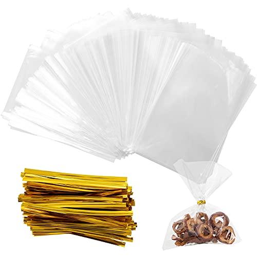 PROGARMENTS 200 Pcs Sachet Bonbon en Cellophane, 10x15cm Sachet d'emballage Transparents pour Biscuits avec 200 Liens Torsadés 8cm pour Perles Bijoux Chocolats Alimentaire Cadeau