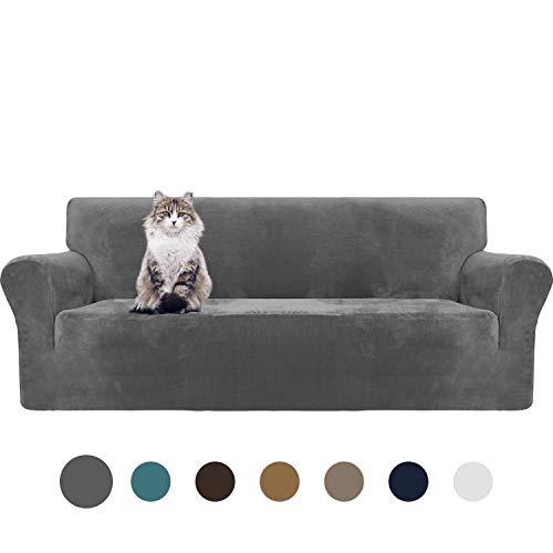 MAXIJIN Thick Velvet Sofabezüge 3-Sitzer Super Stretch rutschfeste Couchbezug für Hunde Katze Haustierfreundlich 1-teilige elastische Möbel Protector Plüsch Sofa Schonbezüge (3 Sitzer, Grau)