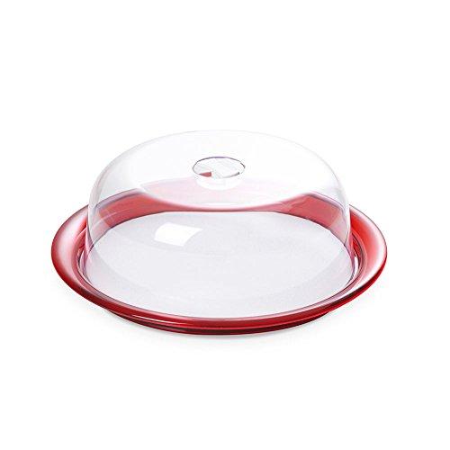 Omada Design Poêle à gâteau, couvercle résistant à la fraîcheur pour les gâteaux avec plateau en plastique incassable, Rouge