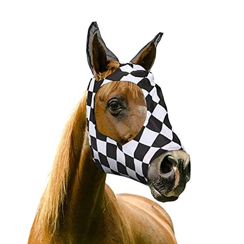 Augot Fliegenmasken für Pferde, Netz-Fliegenmaske mit Ohren, schwarz und weiß kariert, Netz-Ohrenschutz-Brille, strapazierfähiges Netz-Stellar, UV-Schutz für Pferd/Cob/Pony