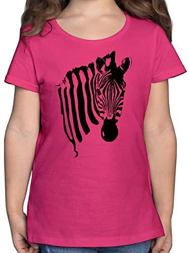 Tiermotive Kind - Zebra - 104 (3/4 Jahre) - Fuchsia - Tshirt mädchen 134 - F131K - Mädchen Kinder T-Shirt