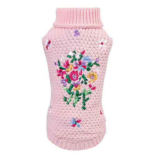 Petyoung Suéter para Perros con Bordado Floral - Suéter cálido para Mascotas Ropa de Invierno Suave para Cachorros Perros pequeños medianos Gatos