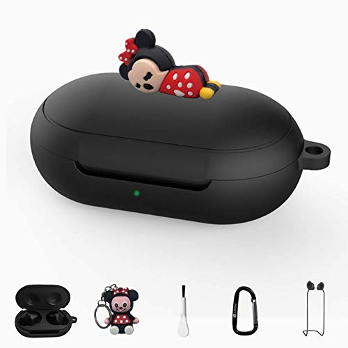 Minnie Mouse Silicone Case for Galaxy Buds / Galaxy Buds+,6 in 1 Silicone Accessories Set Protective Cover, Silicone Case/Keychain/Carabiner/Anti-Lost Rope,Manually Paste The Doll (Black & Minnie)