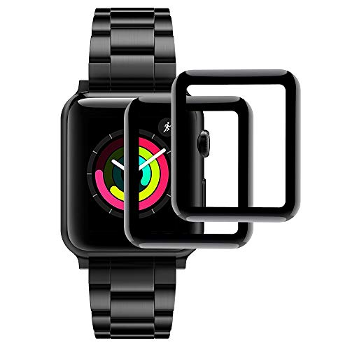 Hianjoo [2-Pack] Vetro Temperato Compatibile per Apple Watch 38mm, Pellicola Proteggi Schermo 38mm [3D Curved Full Coverage] Compatibile con Apple Watch 38mm Series 3/2/1 - Nero