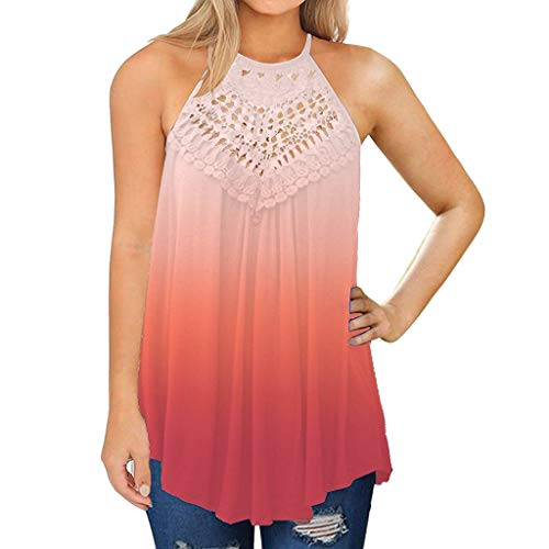 Learn More About Toimothcn Women Lace Vest Plus Size Sleeveless Tie-dye Print Halter Tank Tops Shirt...