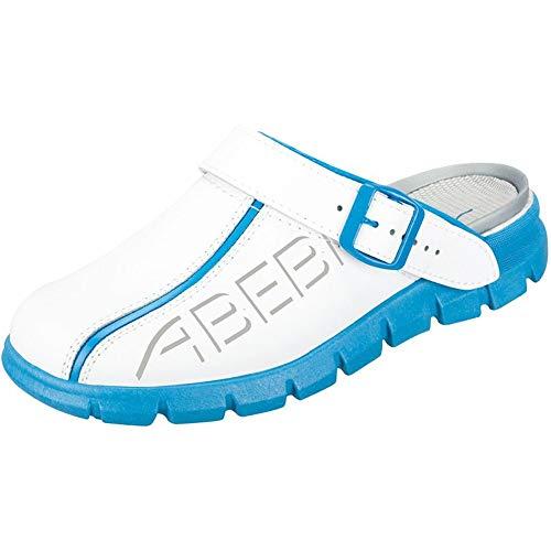ABEBA Clog 7312 Größe 41, Dynamic Glattleder weiß/blau mit Aufdruck, zertifiziert