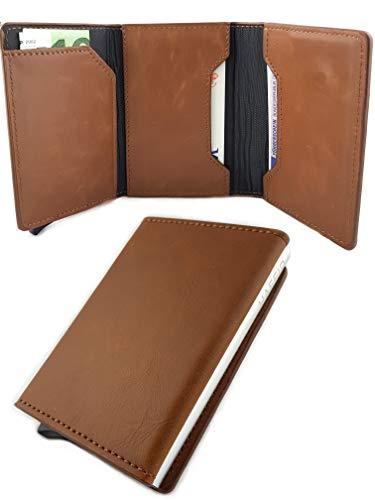 HAFEID Kartenetui mit RFID und NFC Schutz - Portemonnaie mit Münzfach, Scheinfach und Magnet - Click & Pay Kreditkartenetui und Geldbeutel - Geldbörse für Damen und Herren - Mini Portmonee Braun