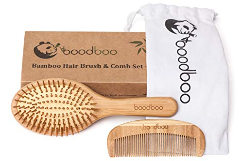Bamboo Hairbrush and Comb Set – Scalp Massage Wooden Hairbrush with Bamboo Pins – Hair Brush and Comb Gift Box – Drawstring Pouch – Less Static Bamboo Hairbrush