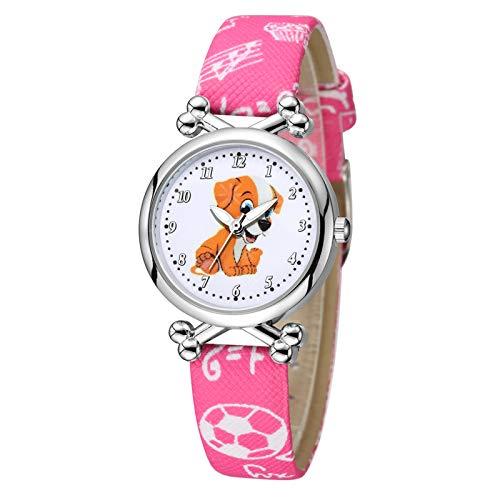 MZRI Children's Watch Cute Doggy Dial Watch Sport Quartz Watch Soft Pu Leather Watch Band Christmas Birthday'S Gift for Kids Girl Boys (Hot Pink)
