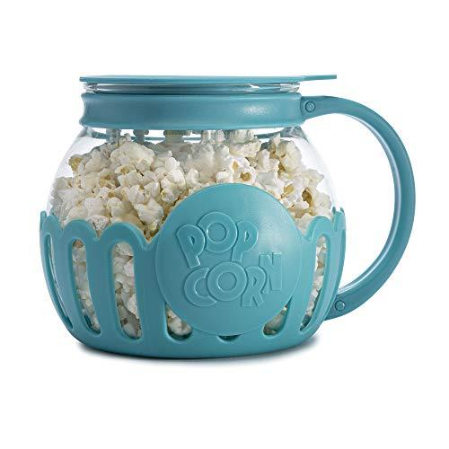 Ecolution Original Microwave Micro-Pop Popcorn Popper, Borosilicate Glass, 3-in-1 Lid, Dishwasher Safe, BPA Free, 1.5 Quart Snack Size, Teal