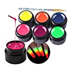 Spider Gel for Nail Art Glow in The Dark Drawing Glue 6 Colors Nail Art Wire Drawing Gel for Line with Gel Paint Design Nail Art Kit with Draw Brush