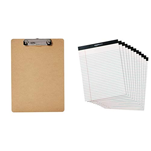 Amazon Basics Hardboard Office Clipboard - 6-Pack & Legal/Wide Ruled 8-1/2 by 11-3/4 Legal Pad - White (50 Sheet Paper Pads, 12 Pack)