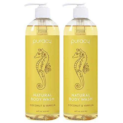 Puracy Natural Shower Gel, Coconut & Vanilla, Sulfate-Free Body Wash, 16 Ounce (2-Pack)