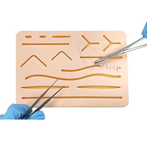 JJIIEE Almofada de sutura de silicone para treinamento de suturas, 3 camadas com ferimento para treinamento, treinamento e prática, 17 x 12 cm