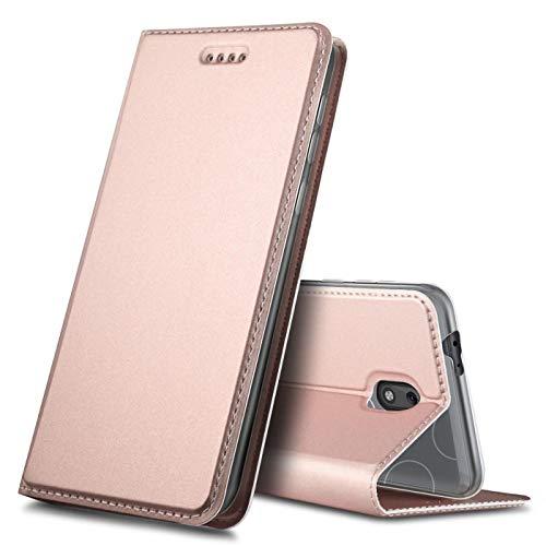 Verco Handyhülle für Nokia 2.2, Premium Handy Flip Cover für Nokia 2.2 Hülle [integr. Magnet] Book Hülle PU Leder Tasche, Rosegold