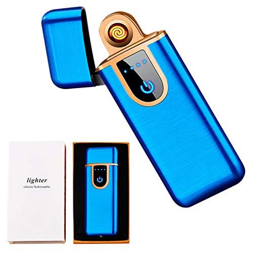 Electric Lighter, Flameless USB Rechargeable Lighter, Mini Smart Fingerprint Sensor Windproof Electronic Lighter, Portable Plasma Mute Lighter for Camping Indoor Outdoor Cigarette Lighter (Blue)