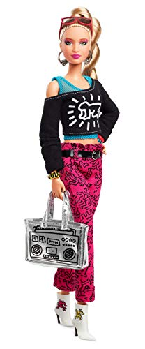 BarbieCollector Keith Haring Doll, 11.5-Inch, Wearing Graphic Fashion, with Blonde Hair and Boom Box Purse