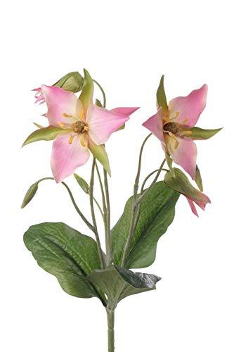 artplants.de Deko Zweig Waldlilie Madie auf Steckstab, rosa, 40cm, Ø 10-12cm - Kunstblume