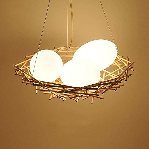 LCTCXD LED 3 teste uccello luce a soffitto Nest, Lampadari Rattan, vetro rotondo Illuminazione legno Lampadario decorativo Lampadari Cafe Tavolo da pranzo Pendant Light (Colore : 3 heads)