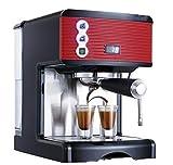 YZYZYZ Cafetera Doméstica Pequeña Capacidad 1.7L Molino De Café Espresso Semiautomático Completo Bomba Presión Vapor Espuma Oficina Rojo
