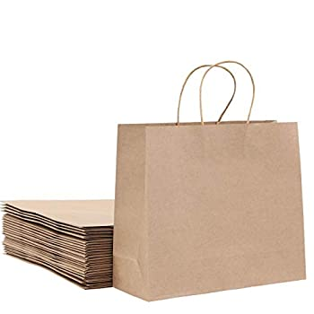 Large Brown Kraft paper gift bag 12.6x4.3x10.6inches 25Pcs Bulk Shopping with Handles Birthday Gift Craft Merchandise Grocery Reusable Business Baby Shower