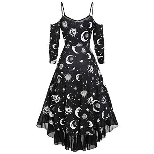 ღJiaMeng Damen Kostüm Vintage Retro A-Linie Elegant Kleid Lange Ärmel Sonne Stern und Mond...