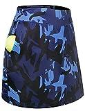 Lafaris Plus Size Skorts Skirts for Women 3X, Tennis Golf Workout Athletic Running Biking Swimming Hiking Fishing Exercise Sports Outdoor Activewear Blue Floral
