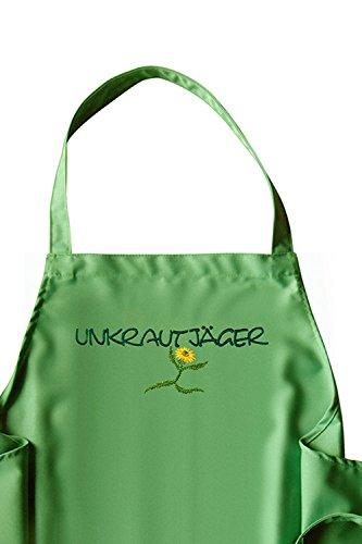 KringsFashion Latzschürze Motiv Unkrautjäger - Schürzenfarbe grün/Jade, hochwertig Bestickt, Gartenschürze