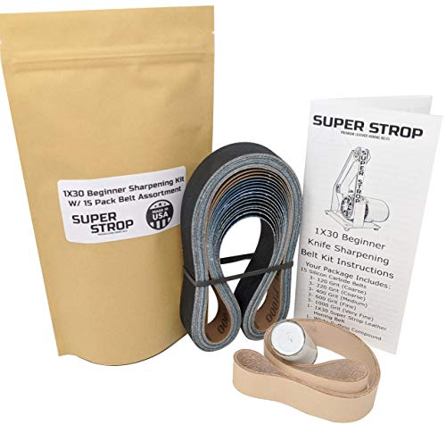 1X30 Super Strop Beginner Knife Sharpening Belt Kit W/ 15 Pack Sanding Belt Assortment and 1X30 Leather Honing Belt Detailed Instructions Included