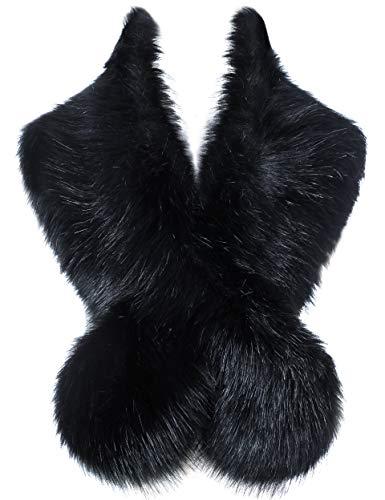 ArtiDeco Damen Kunst Pelz Schal Flauschig Faux Pelz Umschlagtuch Kragen für Wintermantel 1920er Jahre Flapper Accessoires Outfit Warm Zubehör 120 cm lang (Schwarz)
