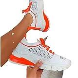 MIAOFA Zapatos Casuales de Verano para Mujer, Zapatillas de cuña con Cordones y Punta Redonda, Mocasines con Plataforma Antideslizantes, Zapatos para Caminar al Aire Libre,Naranja,36