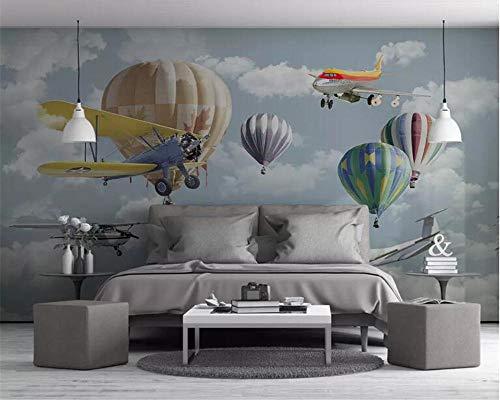 HDDNZH muurschildering op maat, 3D grote muurschildering behang, cartoon vliegtuig, heteluchtballon, tv, sofa, achtergrond, de muur kinderkamer, slaapkamer, home decoratie getekend 320cm(H)×600cm(W)