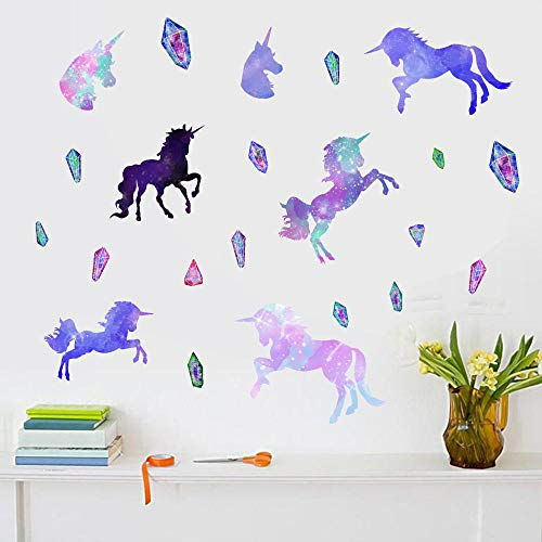 Creative Unicorn and Diamonds Wall Stickers Funny Cartoon Animal Wall Decals for Kids Rooms Bedroom Living Room Home Decor
