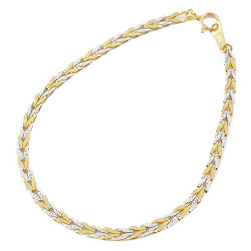 純金 純プラチナ ブレスレット コンビ リバーシブル チューリップ デザイン 18cm 3.6g