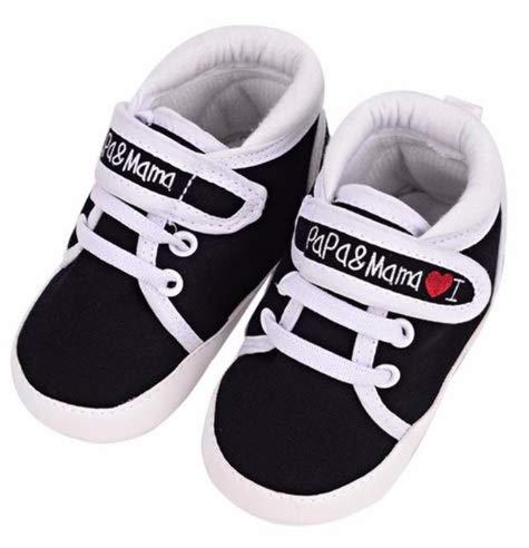 ベビーシューズ 赤ちゃん靴 ソフトソール ファーストシューズ 女の子 男の子 スニーカー 0-18ヶ月 新生児 papa&mama(13, 黒)