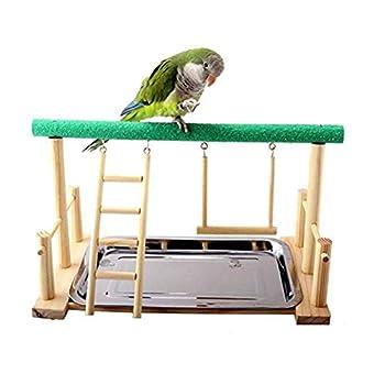 BERTY·PUYI Oiseau Perroquet Support De Jeu Auto-Assembler Aire De Jeux Bois Perche Parc De Gymnastique avec Échelle Balançoire Jouets Exercice Jouer Bâton Debout