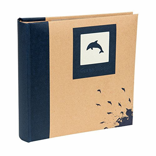 (Blue, 200 Photos 7x5 inch / 13x18cm) - Kenro Blue Dolphin Photo Album with Kraft Paper Cover for 200 Photos 7x5 inch/13x18cm Family Photograph Album, Green Wood Series - GRW007UE