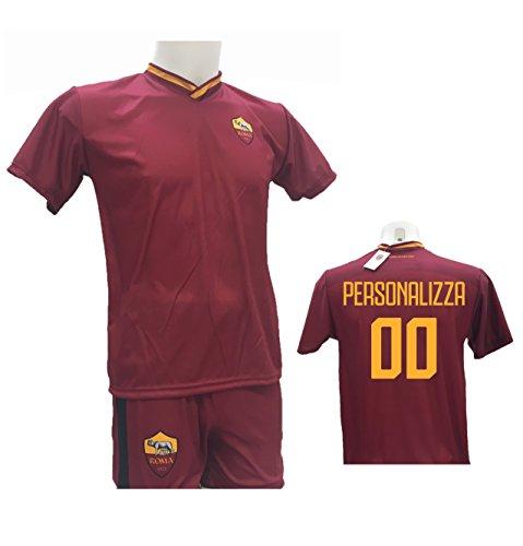 Completo Calcio Maglia Roma Personalizzabile + Pantaloncino Replica Autorizzata 2017-2018 Bambino (Taglie 2 4 6 8 10 12) Adulto (S M L XL) (S)