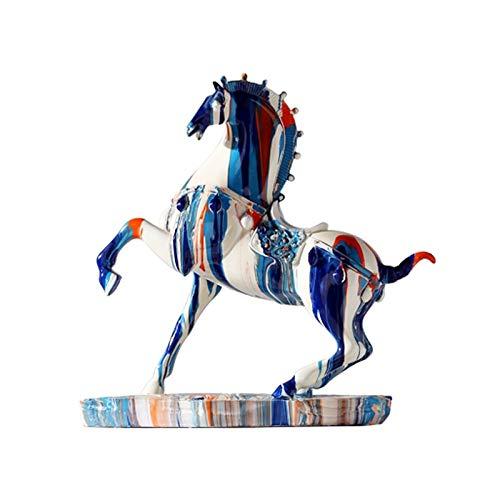 Estatuas Resina caballo escultura ornamento decoracin coleccionable para decoracin casera casa de granja sala de estar decoracin oficina mesa mesa de escritorio mesa de vino gabinete regalo, azul E