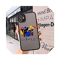 TieSen For iPhone 11 Pro 12 XS MAX X SE 20 X XR 7 68Plus用アンブレラアカデミー電話ケースかわいい透明マットカバーハードファンダス-Style 5-For iPhone 12
