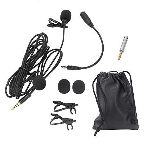 Akozon Lavalier Mikrofon Clip-on Mikrofon Kragen Mikrofon Revers Mic 3,5 Mm Stecker für Computer Kameras Telefone 1,5 M Lavalier-Clip-Mikrofon mit Doppeltem Revers