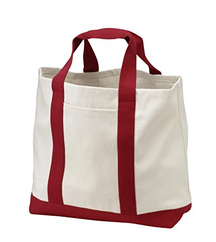 Port & Company luggage-and-bags 2 Tone Shopping Tote OSFA Natural/Red