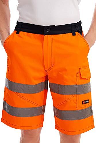 Mivaro Kurze Herren Arbeitshose Shorts mit Reflexstreifen in Signalfarben, Farbe:Orange, Größe Hosen:XL