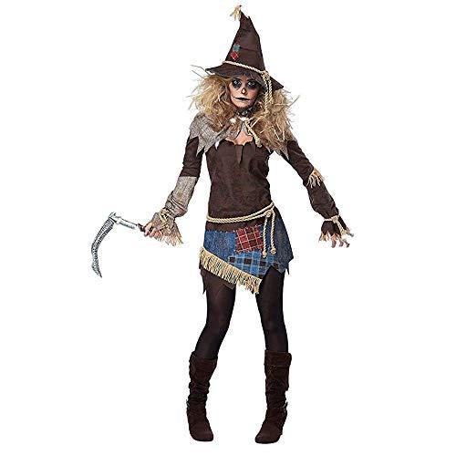 Natinr Disfraz de Cosplay de Bruja Espantapájaros Espeluznante para Mujer, Disfraz de Carnaval de Halloween, Vestido Elegante