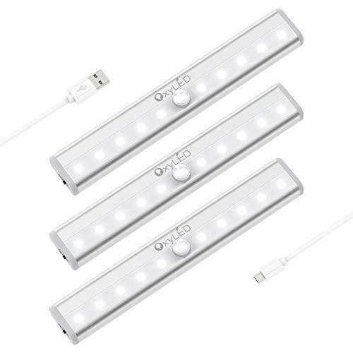 OxyLED Luz del sensor de movimiento,(10 LED 3pcs) Sensor USB recargable Luz del guardarropa,Luz de la noche del armario del LED con Encendido/apagado automático,para gabinete,Espejo de vanidad