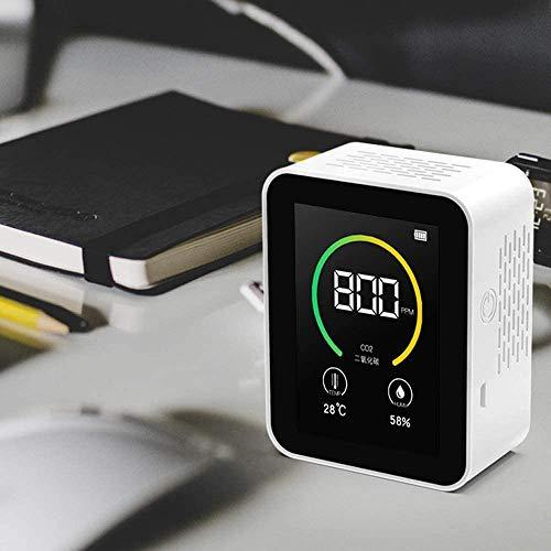 ETE ETMATE CO2-Kohlendioxid-Detektor,Luftqualitätsanalysator mit Temperatur-Feuchtigkeits-Anzeige Messbereich Luftqualitätsmonitor 400-5000PPM (Weiß)