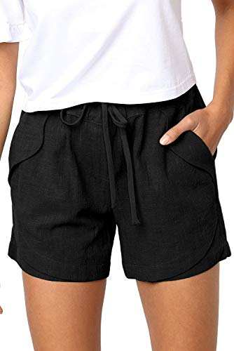 FEKOAFE Women Comfy Drawstring Casual Elastic Waist Cotton Beach Shorts with Pockets Black L