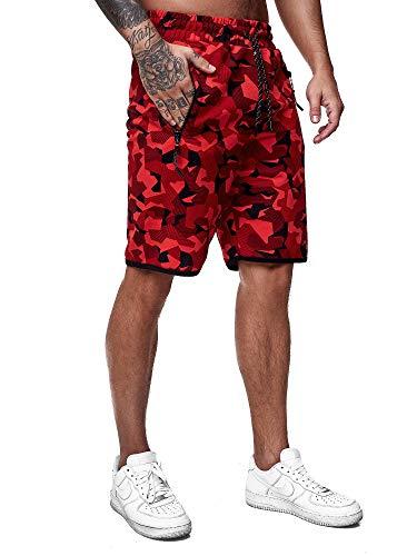 OneRedox Herren Jogging Hose Jogger Streetwear Camouflage Sporthose Fitness Clubwear Modell 3622 Rot XXXL