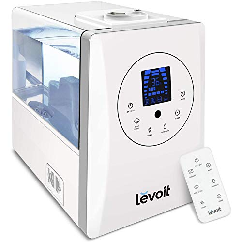 LEVOIT Humidifiers for Large Room Bedroom (6L), Warm and Cool Mist Ultrasonic Air Vaporizer for Home Whole House Babies, Customized Humidity, Remote Control, Whisper-Quiet, White